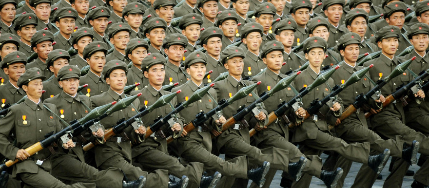 North Korean soldiers on parade in Pyongyang (File photo)