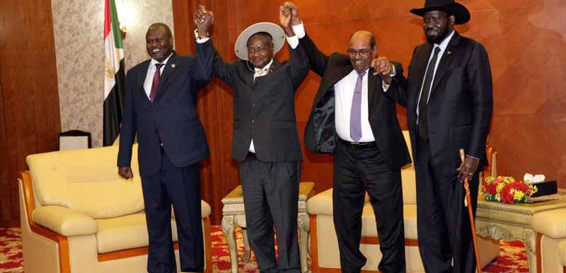 South Sudan rebel leader Riek Machar, President Yoweri Museveni of Uganda, Sudanese President Omar Al Bashir, and Salva Kiir, president of South Sudan (SUNA)