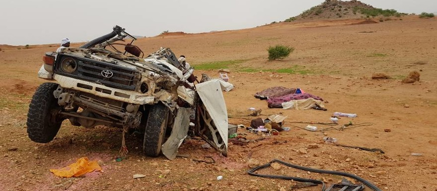A vehicle overturned on its way from Zalingei to El Geneina in Murnei on June 27, 2018 (RD)