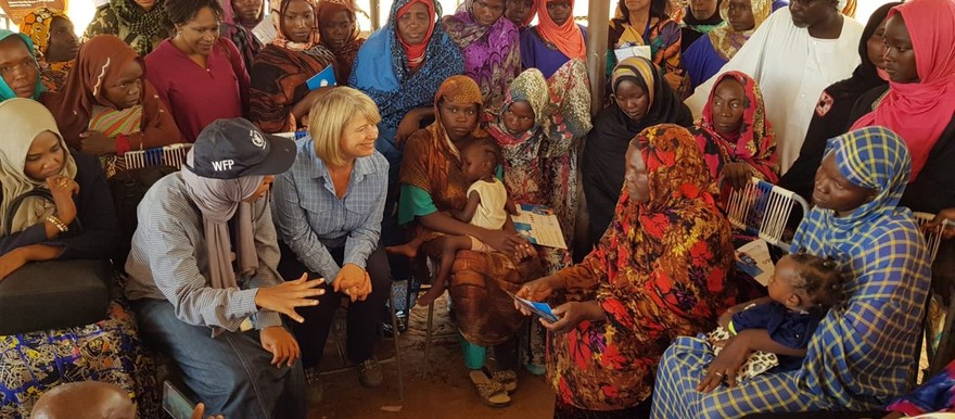 British Minister of State for Africa, Harriett Baldwin, meets displaced women at Abou Shouk camp in North Darfur (Photo: Supplied)