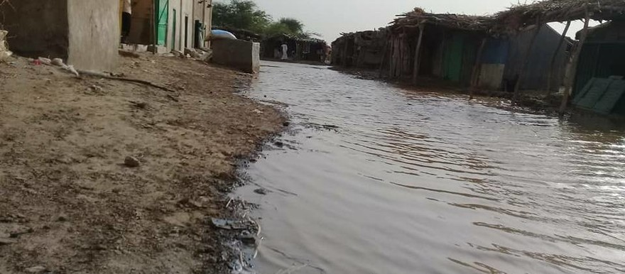 A village in Sudan is flooded in the 2018 rainy season (RD)