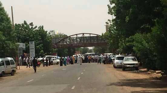 Queues for cash by Khartoum University employees caused closure of the road - scroll down for more pictures and video