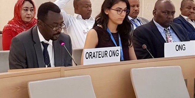 ACJPS Executive Director delivers a statement at the 36th session of the UN Human Rights Council, September 27, 2017 (ACJPS)