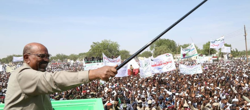 President Al Bashir addresses a mass rally in Ed Daein, capital of East Darfur yesterday (SUNA).