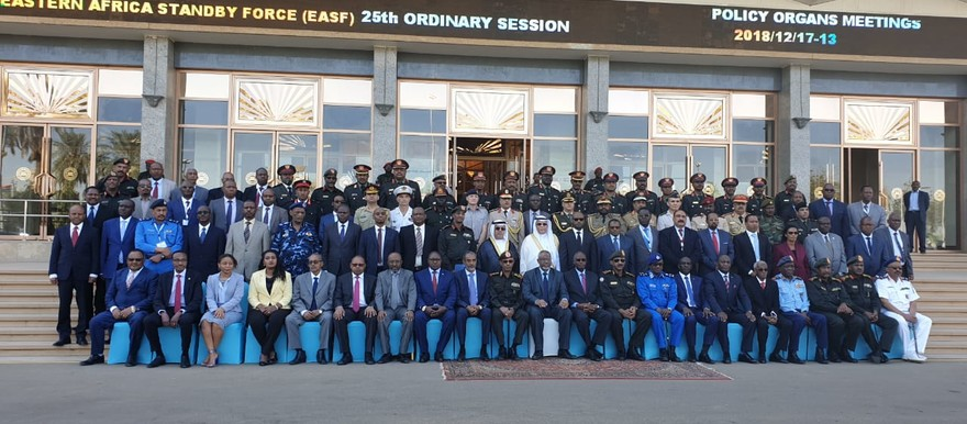 The Council of Ministers for Defence and Security of the Eastern Africa region together with other guests pose for a group photograph on December 17, 2018 (Eastern Africa Standby Force)