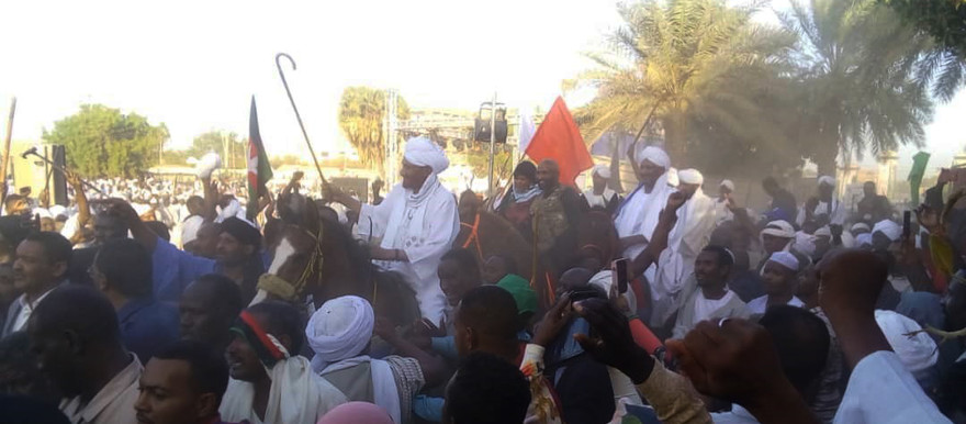 Imam El Sadig El Mahdi, leader of the opposition National Umma Party (NUP) and Chair of the Sudan Call alliance, is greeted by crowds in Omdurman today