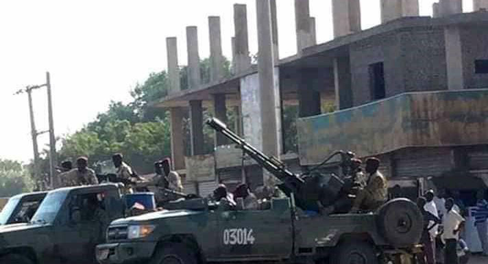 A Land Cruiser mounted with an anti-aircraft/anti-tank gun in Khartoum this morning