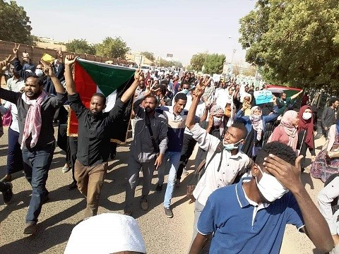 A protest march in Khartoum
