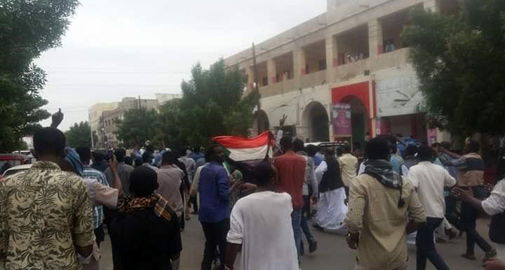 Marchers converge on the centre of Port Sudan this afternoon