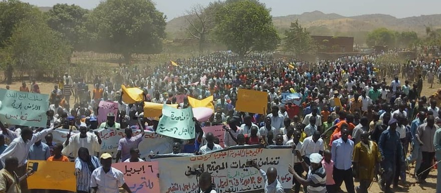 People in the Nuba Mountains participate in the 'Marches of Millions' held all over the country, calling for the fall of President Omar Al Bashir April 6, 2019 (RD)