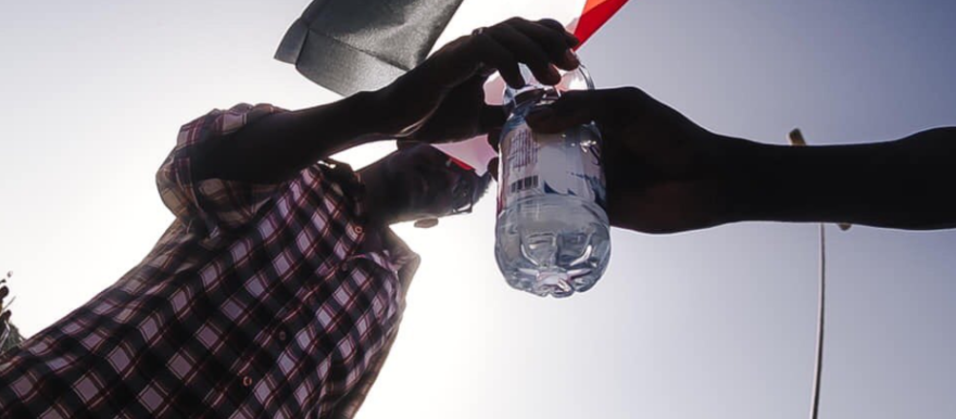 Water is handed out during demonstrations (social media)