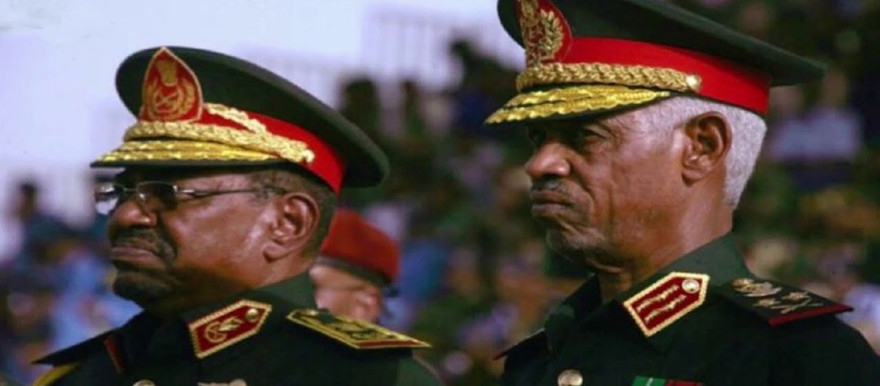 Sudan's now deposed President Omar Al Bashir with Sudanese Defence Minister, Lt Gen Awad Ahmed Ibn Auf, leader of a military coup that seized power in Khartoum today (Archive photo)