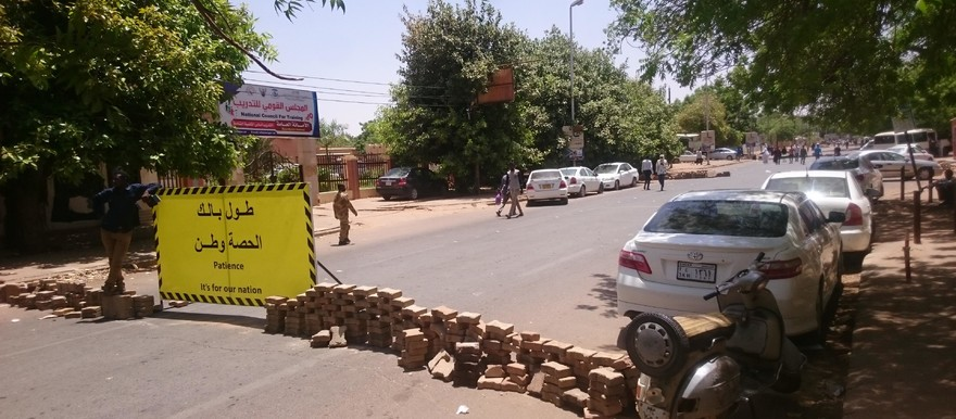 A road block set up by protesters in Khartoum (SUNA)