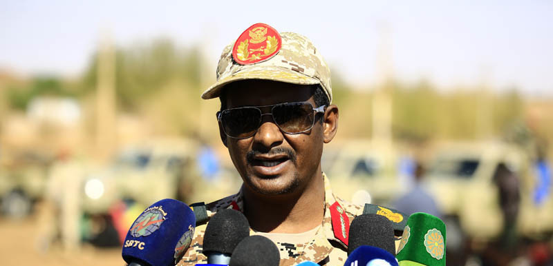 The commander of Sudan's main government militia, the Rapid Support Forces (RSF), Lt Gen Mohamed Hamadan (aka Hemeti), who is also deputy chairman of the ruling Transitional Military Council (SUNA)