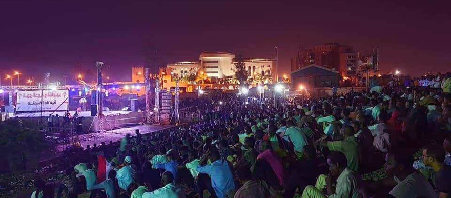 The sit-in in Khartoum on Monday night (Picture: Social media)