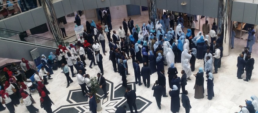 Striking employees in the lobby of the Central Bank of Sudan (Picture: Social media)