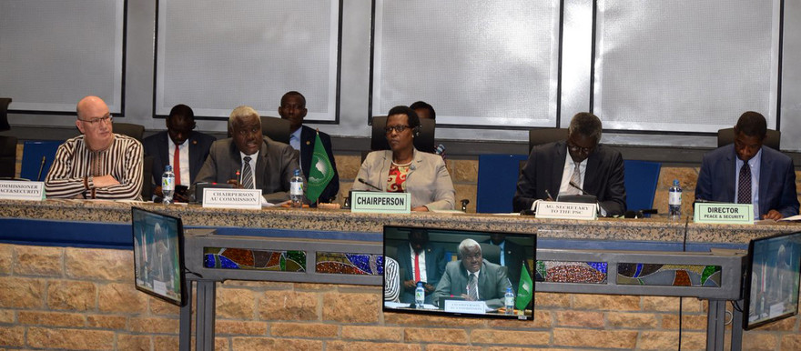 The chairperson of the African Union Commission, Moussa Faki (second from left) addresses the African Union Peace and Security Council (AUPSC) last week (Picture: AU)