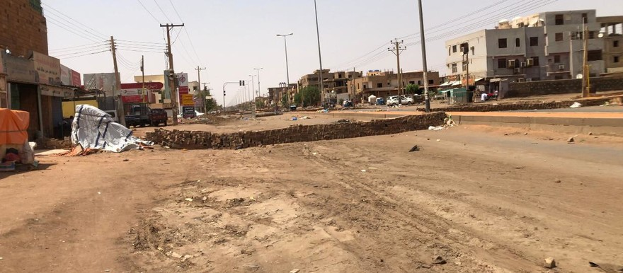Only the barricades remain in the deserted streets of Khartoum North today (RD)
