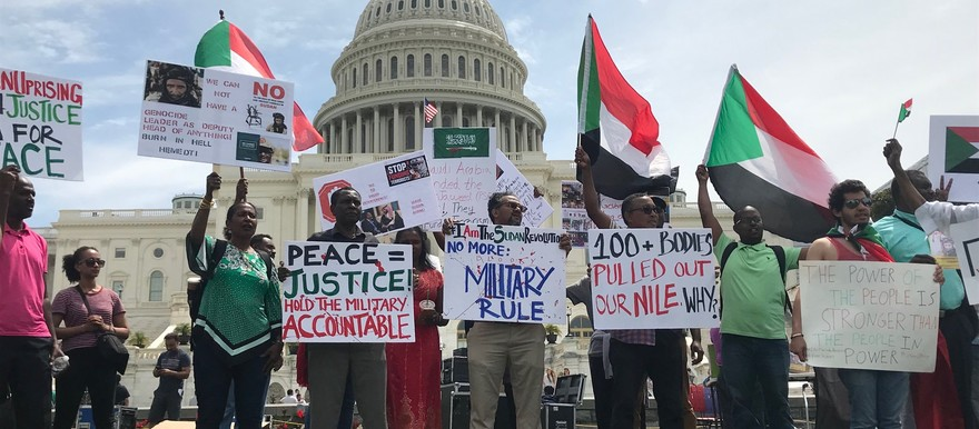 Members of the Sudanese diaspora in the USA hold a demo in front of the US Capitol in Washington DC yesterday (Social media)