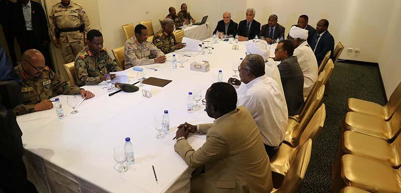 Negotiations between the TMC and the AFC in Khartoum yesterday (SUNA)