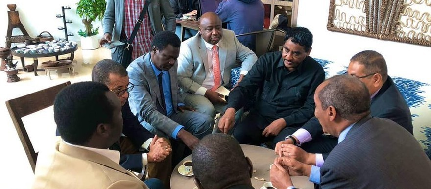 Members of the Forces for Freedom and Change and the Sudanese Revolutionary Front discuss peace issues in Addis Ababa in end July 2019 (Social media)