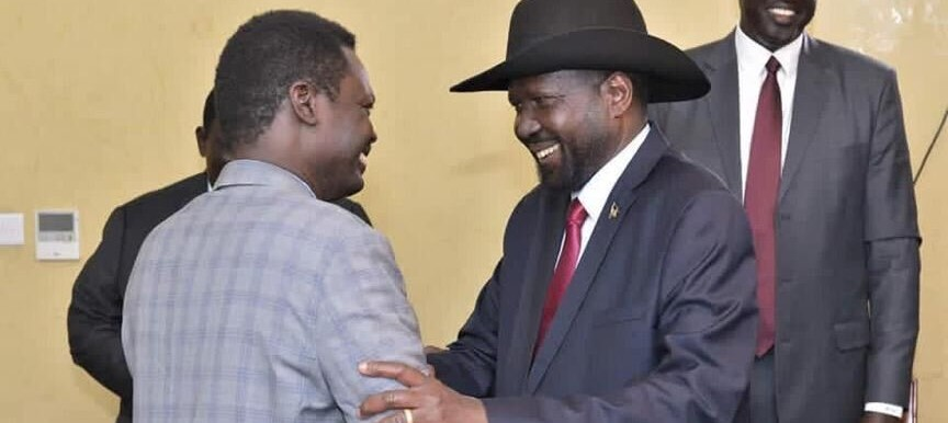 South Sudan's President Salva Kiir meets with SLM leader Minawi in the capital Juba on Tuesday.
