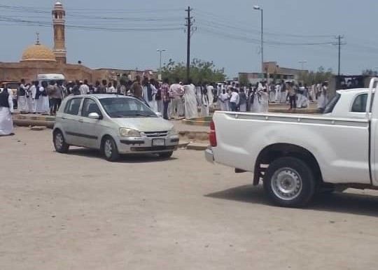 A road in Port Sudan is closed in protest against an attack by the army on citizens.