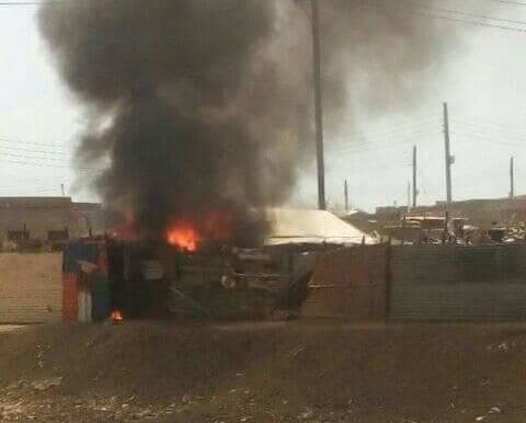 A home destroyed by burning in Port Sudan last week (social media)