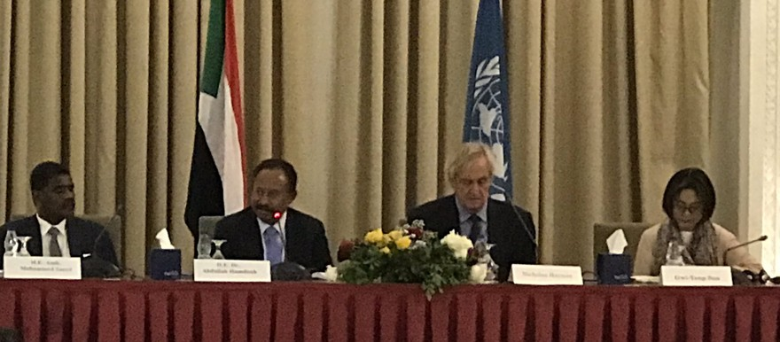 The opening of the UN Coordination Meeting in Khartoum earlier today with key note speaker Prime Minister Abdallah Hamdouk (UN photo)