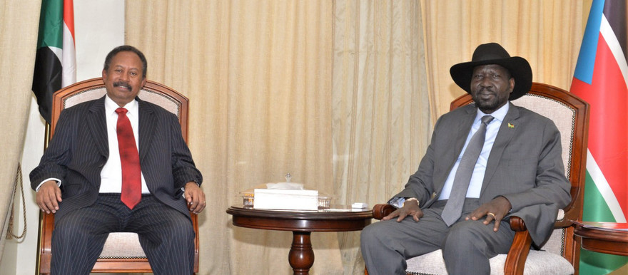 Sudanese Prime Minister Abdallah Hamdouk is received by South Sudan President Salva Kiir at in the State House in Juba on September 12 (Picture: South Sudan Presidential Press Unit)