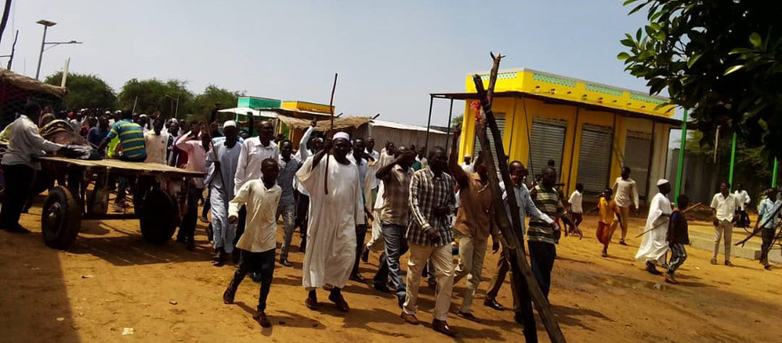 Residents take to the streets in Gireida, South Darfur to protest the attack (RD correspondent)