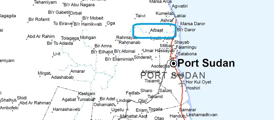 Arbaat along Wadi Arbaat. The Arbaat basin is the main source of potable water supply for Port Sudan (UN map of Red Sea state)