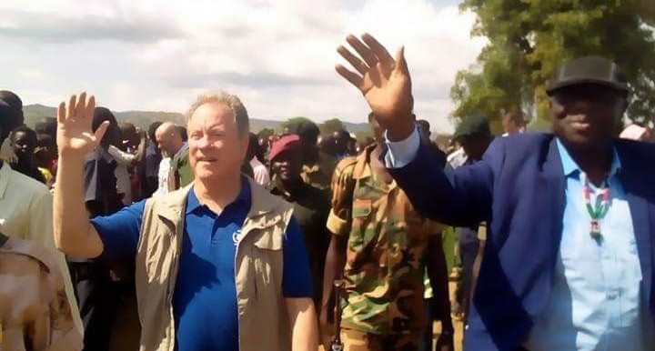 WFP Executive Director, David Beasley, with SPLM-N leader Abdelaziz El Hilu in the Nuba Mountains of South Kordofan today (RD Correspondent)