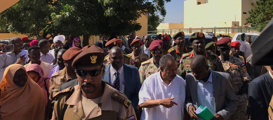 Prime Minister Hamdok visits El Fasher hospital during his visit to the region this week (Sudania24TV via social media)