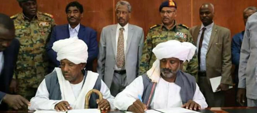 Representatives of the Beni Amer and Hadendawa clans sign a peace accord in Port Sudan today, brokered by a joint delegation from the Cabinet, the Sovereign Council, and the Forces for Freedom and Change (RD Correspondent)