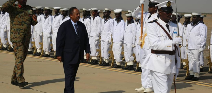 Sudan's Prime Minister Hamdok inspects a Guard of Honour formed by the Sudanese Navy on arrival in Port Sudan today (Picture: SUNA)