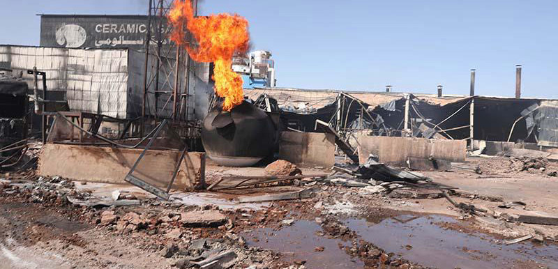 The destruction after the gas explosion and subsequent fire that 'completely gutted' the Sila ceramics factory and impacted on surrounding buildings in Kober district in Khartoum Bahri (North) today (SUNA)