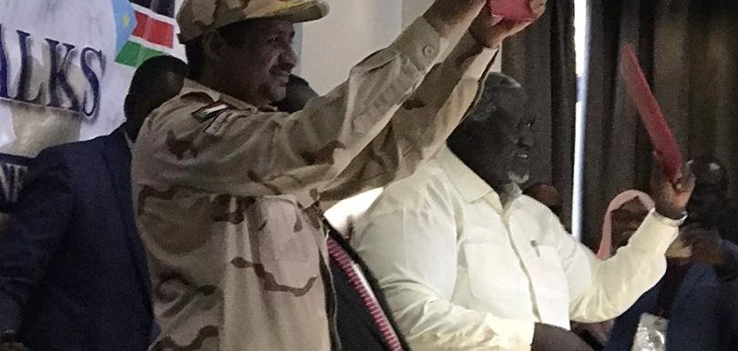 Negotiator for the Sudanese government Lt Gen Mohamed Hamdan 'Hemeti' and SPLM-N rebel leader Malik Agar signed a 'humanitarian protocol' and cease fire yesterday (Social media)