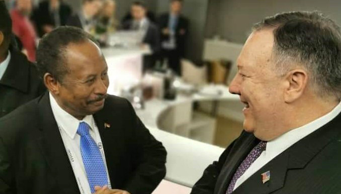 Sudan's Prime Minister Abdallah Hamdok and US Secretary of State, Mike Pompeo, meet on the fringe of the Munich Security Conference in February (SUNA)