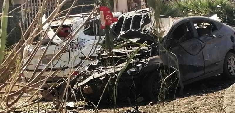 Cars reportedly destroyed in an attack on the motorcade of Sudan's Prime Minister Abdallah Hamdok in Khartoum North, March 9, 2020  (SUNA)