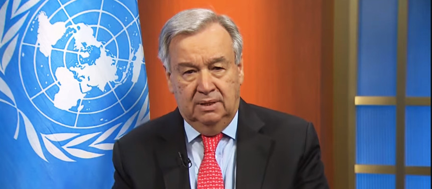 UN Secretary-General António Guterres speaks via virtual link from New York today (UN)