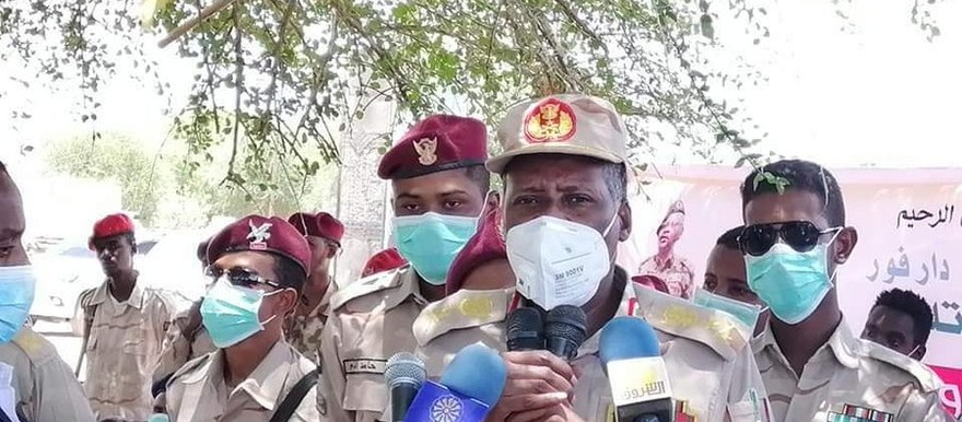 Lt Gen Abdelrahim Hamdan, the Deputy Commander of the Rapid Support Forces gives a press conference in Nyala, the capital of South Darfur (SUNA)