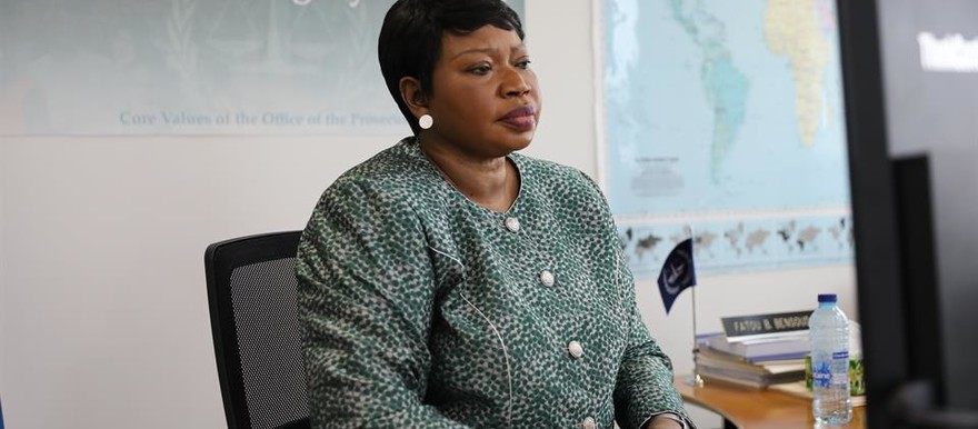 The Prosecutor of the International Criminal Court (ICC), Fatou Bensouda, briefs the UN Security Council via video link today (Picture: ICC-CPI)