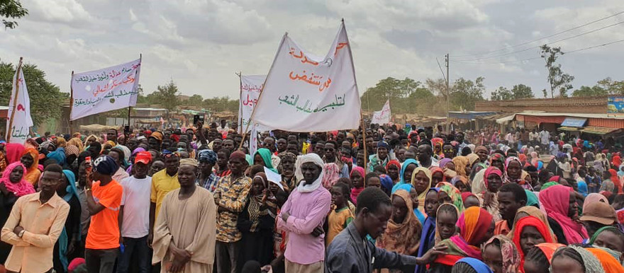The sit-in in Nierteti, Central Darfur, on June 30. The participants protested against the rampant insecurity in the locality and the provision of basic services (RD)