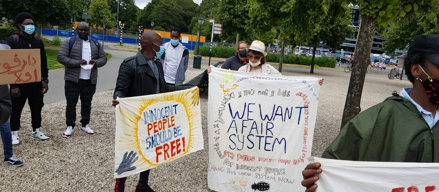 Protest in The Hague against the decision by the Dutch Immigration Service to reassess asylum applicants from Sudan (RD)