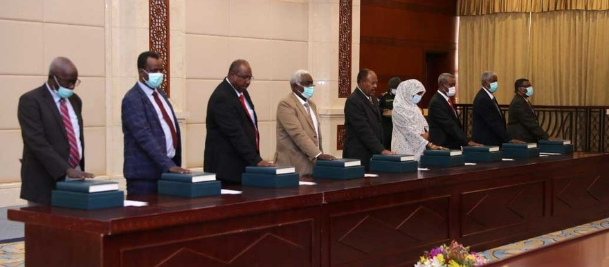 Newly appointed civilian state governors take the Oath of Office at the Republican Palace in Khartoum yesterday (SUNA)