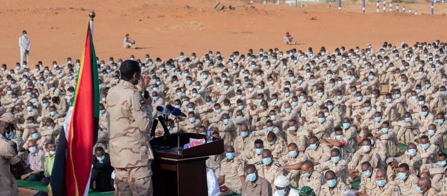 On the occasion of Eid El Adha, Commander of the Rapid Support Forces, Mohamed Hamdan 'Hemeti' addresses his officers at En Nesour military base west of Omdurman, July 31 (SUNA)