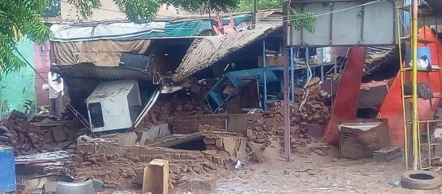 A house destroyed by floods in Marafeet, Red Sea state (Social media)
