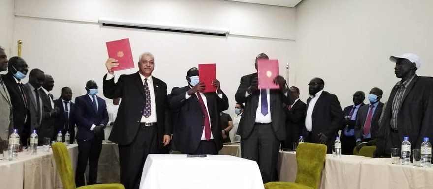The Sudanese government, and the Sudan People's Liberation Movement-North under the leadership of Malik Agar (SPLM-N Agar) signed, in initials, the protocol for security arrangements in the South Sudan capital Juba yesterday evening (SUNA)