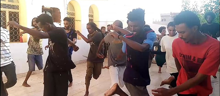 Members of Feed Arts rehearse a theatre performance in Khartoum (Social media)